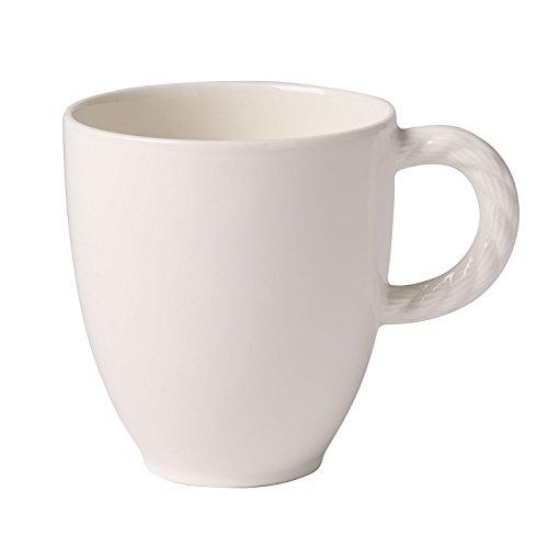Villeroy & Boch Montauk großer Kaffeebecher, Premium Porzellan, Weiß, Becher mit Henkel