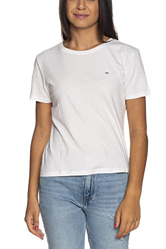 Tommy Jeans Tjw Soft Jersey tee Camiseta, Blanco (White), XS para Mujer