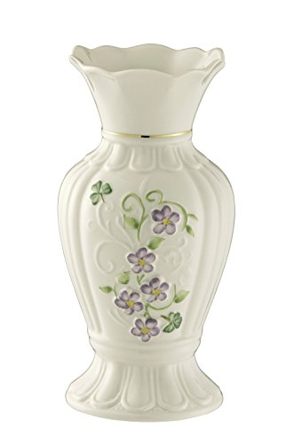 Belleek Pottery Floral Irish Flax Vase