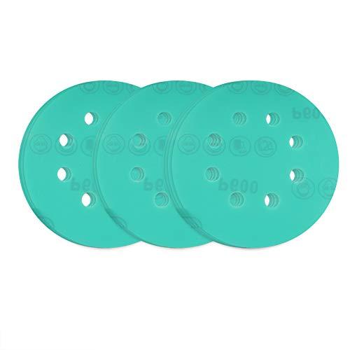 Maxman Discos de lija de velcro, diámetro 125 mm, grano 600, hojas de lija de poliéster, hojas de lija para lijadoras orbitales al azar, 10 unidades de papel de lija redondo seco húmedo