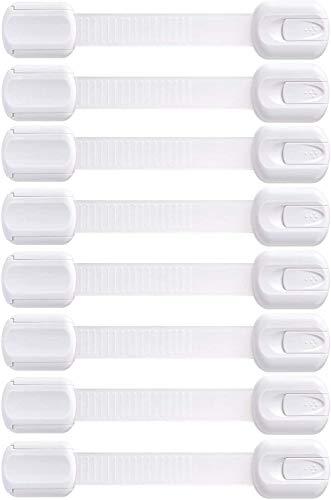 LifenC ajustable niño seguridad cerraduras | Sin Perforaciones | Instalación Excepcionalmente Fáciles | Extra Fuerte 3 M Adhesivo | Blanco | 8 Pack