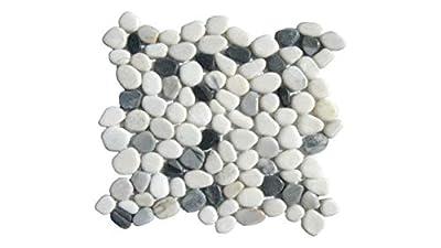 MS International 12 in. x 12 in. Black/White Pebbles Marble Mosaic Floor & Wall Tile - Box of 5 sqf