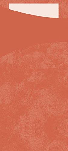 Duni 166039Sacchetto Besteck Taschen mit gefaltet Tissue Servietten Innen, 8,5cm x 19cm, mandarine Sacchetto und weiß Serviette (500Stück)