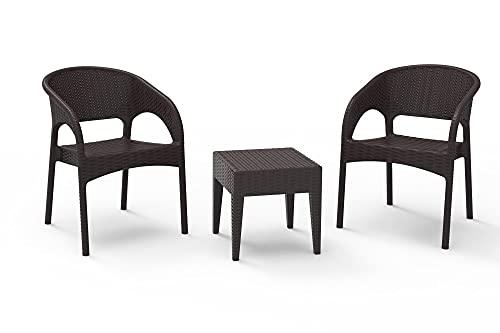 RESOL Bahía Set 2 Sillones y 1 Mesa Auxiliar   Conjunto de Muebles de Jardín de Ratán   3 Piezas   Resina y Fibra de Vidrio Imitación Ratán   Protección UV - Marrón Chocolate