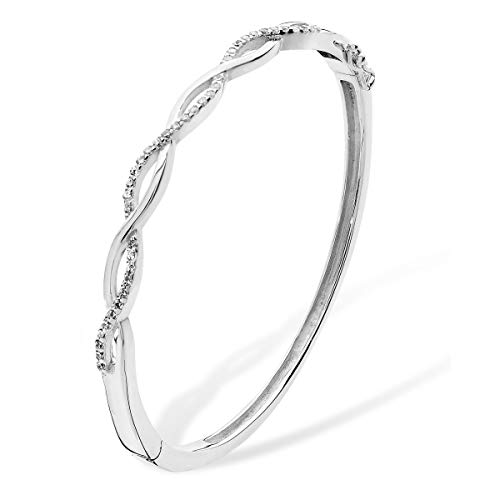 Aeon Sterling Silver White Cubic Zirconia Infinity Weave Bracelet - Love, Romance, Endless Love, Romantic, Infinite Love - Long-Lasting Gift for Birthday, & Graduation Day - 68mm * 4mm