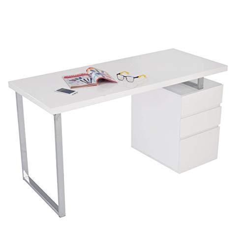 Pureday Schreibtisch Oslo - Hochglanz, Schubladen beidseitig möglich