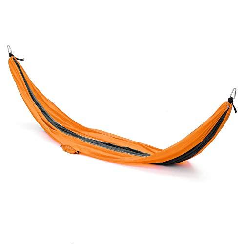 HO-TBO Hammock- Hamaca portátil para camping, viajes, patio, patio, lona para colgar, cama de árbol, máximo 300 kg, portátil y duradera (tamaño: 270 x 140 cm, color: naranja)