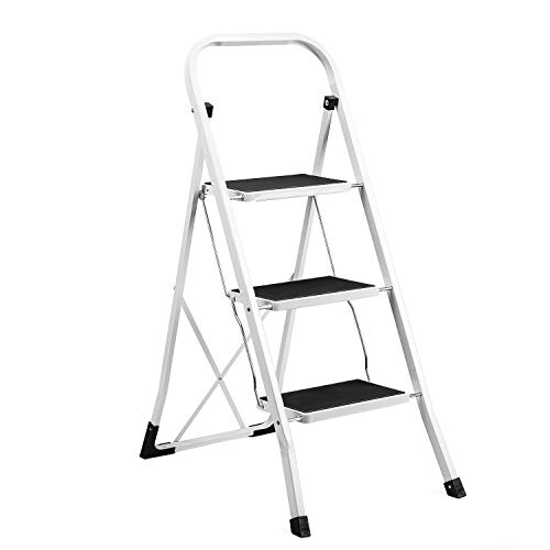 Delxo 3 Step Ladder Folding Step Stool Ladder with...