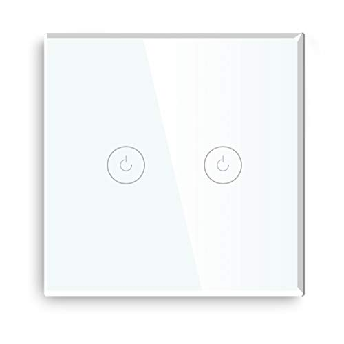 BSEED Interruptores de luz de pared Smart WiFi Touch Sensor (se necesita alimentación neutra) Panel de vidrio compatible Alexa/Tuya/IFTT 2 Gang 1 Via Blanco