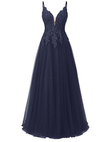 Carnivalprom Damen Spitze Abendkleider Für Hochzeit Elegant Brautkleid Spaghetti-Träger Ballkleider(Navy Blau,38)