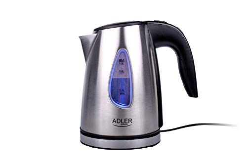 Adler AD 1203 AD1203 Wasserkocher 1630 W, Edelstahl 1 Liter, Silber/Schwarz