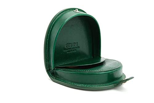 Giudi - Monedero para monedas, vintage, minimalista, de piel, pequeño, redondo, medieval, gótico, steampunk, para niños, de alta calidad, sostenible, verde (Verde) - 6359/GD