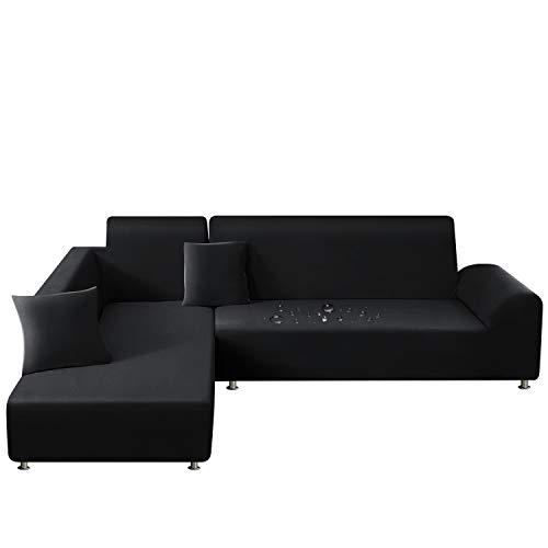 TAOCOCO Sofa Überwürfe Sofabezug Elastische Stretch Wasserdicht Sofa Abdeckung für L-Form 2er Set mit 2 Stücke Kissenbezug (3 Sitzer+3 Sitzer, Schwarz)