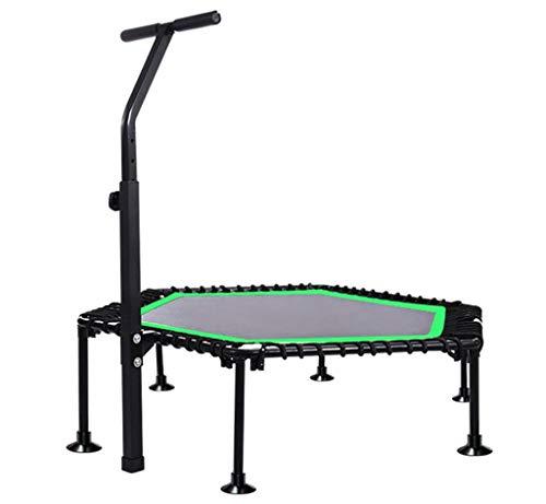 LKFSNGB Fitness trampoline voor volwassenen - verstelbare armleuningen en elastiek met elastisch koordsluiting, 45 inch Hexagonale trampoline opvouwbaar/fitnessapparaat