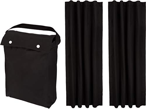 "Amazon Basics Portable Travel Window Blackout Curtain Shades with Suction Cups - 50"" x 78"", Black, 2-Pack"