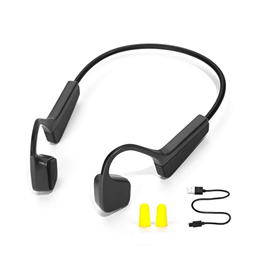 ViFun Bone Conduction Headphones Open-Ear Wireless Bluetooth 5.0 HiFi Sweatproof IPX5 Earphones with Microphone Sports Headsets for Running Driving Cycling Fitness (Black)