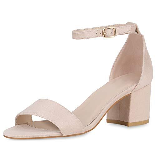 SCARPE VITA Klassische Damen Sandaletten Basic Wildleder-Optik Sommer Schuhe Blockabsatz Riemchensandaletten Absatzschuhe 176304 Creme 39