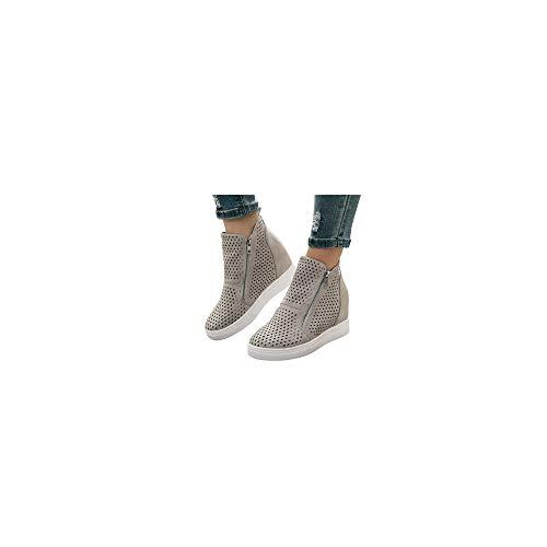 Mokassin Stiefel Damen Stiefeletten Plateau Loafer Keilabsatz Slip On mit Zwei Reißverschluss, Frauen Slipper Bequeme Freizeitschuhe Leichte Atmungsaktiv Halbschuhe Celucke (Grau, 41 EU)