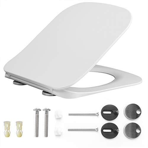 EUGAD 0389MTG Toilettensitz WC Sitz mit Absenkautomatik, Duroplast, rostfreie Klappdübel, Toilettendeckel, softclose Scharnier, eckig Form, super Slim, ultradünnes Design