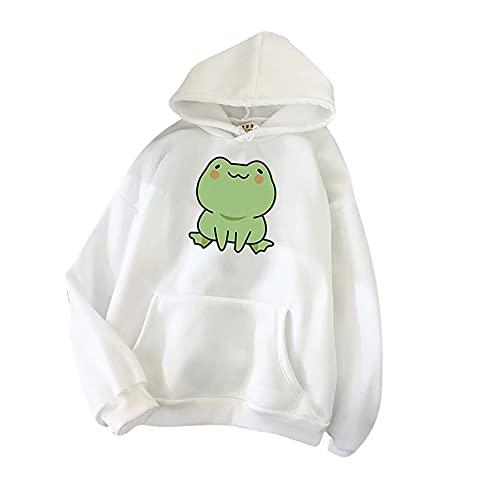 Aniywn Women's Cute Sweatshirts Frog Print Long Sleeve Hoodie Pullover Tops Ladies Kawaii Style Pocket Hooded Jumper White