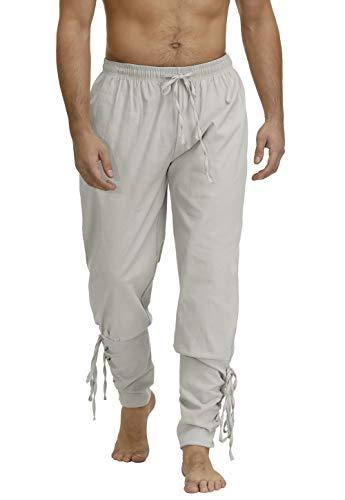 Pirate Pants for Men Viking Costume Renaissance Medieval Pants Pirate Trousers Men White 2XL