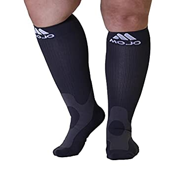 3X-Large Mojo Compression Socks 20-30 mmHg Full Calf Plus Size Compression Stockings for Varicose Veins Edema - Grey XXX-Large A601GREY6