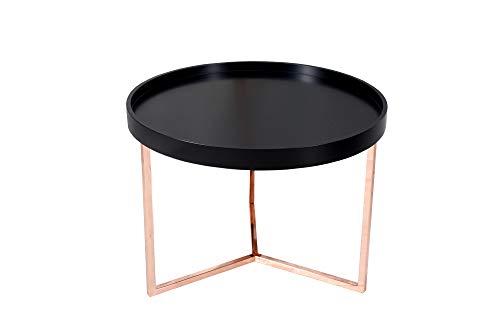 DuNord Design Couchtisch Beistelltisch Triton 60cm schwarz Kupfer Retro Design Tablett Tisch
