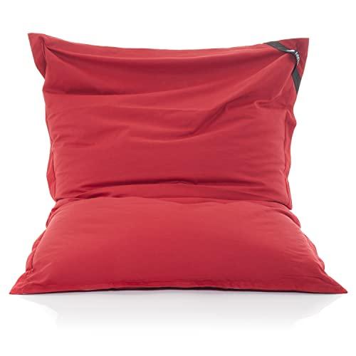 LAZY BAG Original Sitzsack XXL 400L Riesensitzsack aus Baumwolle 180x140cm (Rot)