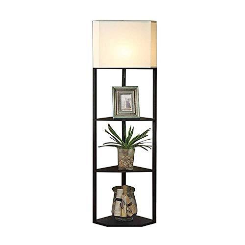 E27 Floor Lamp, Floor Light with Shelves 3 Layers Wooden Shelf Standing Light Modern Reading Lamp with White Fabric Light Shade for Bedroom Living Room Office Home Decoration