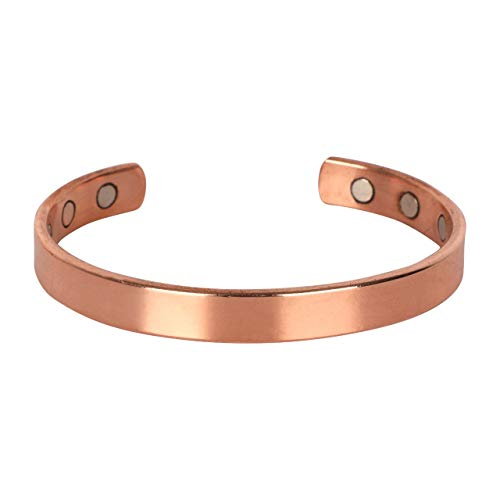 Pure Copper Solid Bracelet Cuff Bangle For Men And Women| For Arthritis and Joint Pain Relief | Adjustable -Slim Minimalist Style Carpal Tunnel For Good Health (Style 2)