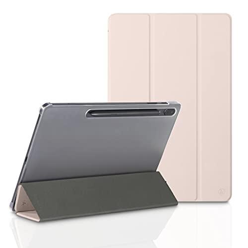 Hama Funda para Samsung Galaxy Tab S7 FE/S7+ 12,4 Pulgadas (Funda con Tapa para Samsung Tablet, función Atril, Parte Trasera Transparente, Cubierta magnética), Color Rosa