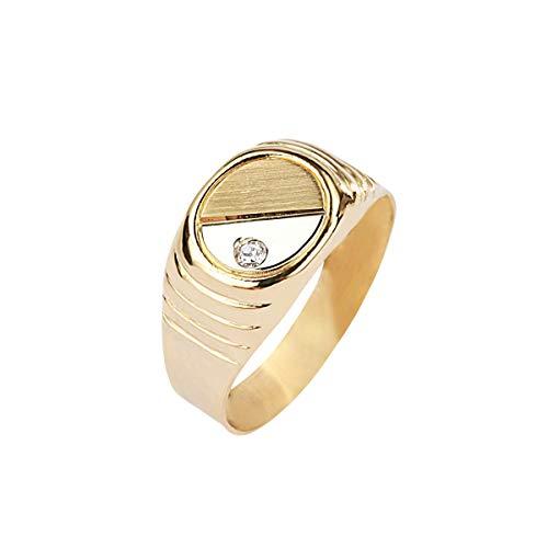 Bluespirit Anillo para hombre, Colección B-CLASSIC, en oro amarillo 750, circonia - P.1303000000068