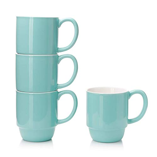 Porcelain Stackable Coffee Mugs Set of 4 - 16 Ounce Cups with Handle for Hot or Cold Drinks like Cocoa, Milk, Tea or Water - Smooth Ceramic with Modern Design, Turquoise