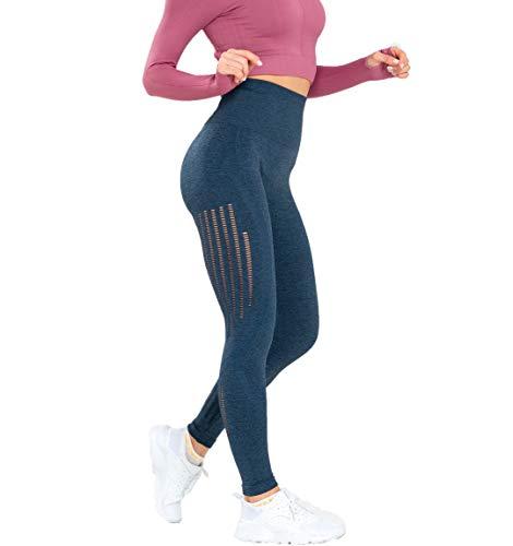 Leggings de cintura alta sin costuras, para mujer, para yoga, sentadillas, entrenamiento, ajustados, Leggings, M