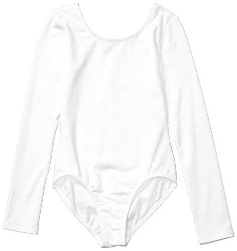 Amazon Essentials Girl's Long-Sleeve Dance Leotard, White, 4T