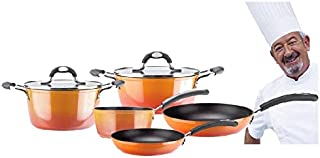 VITREX 71PACAFUE20 71PACAFUE20-Olla Gourmet de Aluminio Full Induction Modelo Fuego de 20x10 cm, Metal, Naranja, 20 cm