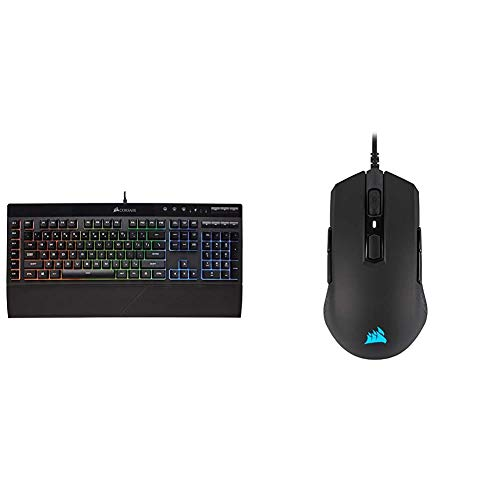 Corsair K55 RGB Gaming Keyboard & M55 RGB Pro Wired Ambidextrous Multi-Grip Gaming Mouse - 12,400 DPI Adjustable Sensor - 8 Programmable Buttons - Black