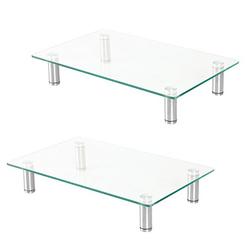 Ilyapa Height Adjustable Glass Monitor Stand 2 Pack - 16 x 9.5 Inch Clear Desktop Risers for Computer Monitors, Laptop, TV, Printer & More