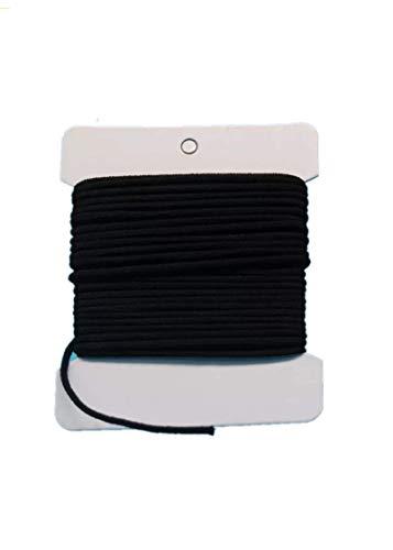 NIKB 1/8 inch Soft Stretch Elastic Elastic 1/8 inch 11-Yards Black Round Elastic Bands for Masks Soft Elastic 1/8 Black 1/8 inch Elastic Cord for Sewing Mask Rope