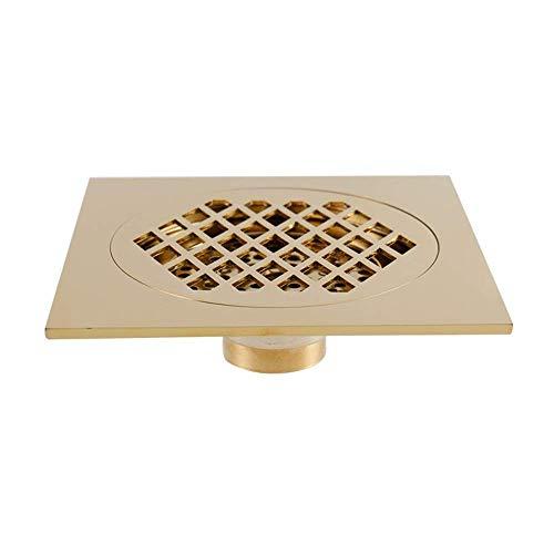 Unbekannt Bodenablaufabdeckung Anti-Clog-Abfluss Geruch Abnehmbar Kupfer Badezimmer Bodenablauf und Gartenbodenablauf (5 Farben) Duschablauf-Haarsieb (Farbe: Gold, Größe: 15 x 15 x 2 cm)