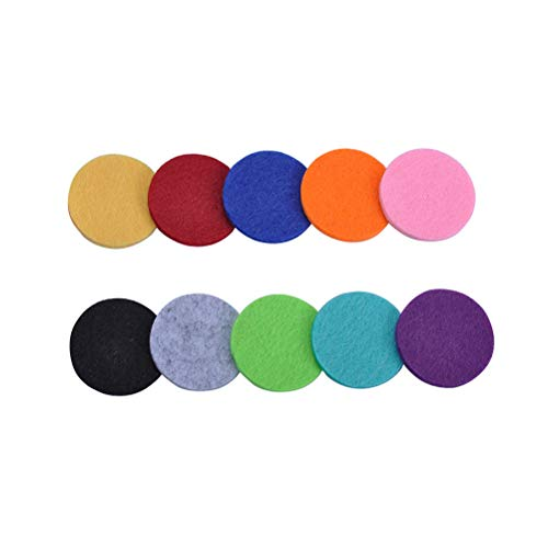 Lurrose Nachfüllpads für Diffusor Halskette Medaillon Anhänger Aromatherapie ätherisches Halskette Filz Pads 17,5mm 100 Stück (Sortierte Farbe)