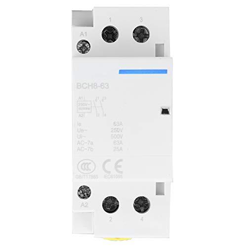 Contactor de CA de 2P 63A 24V, montaje en carril DIN del contactor de CA del hogar 220V/230V 50/60Hz 2NO(220V / 230V)