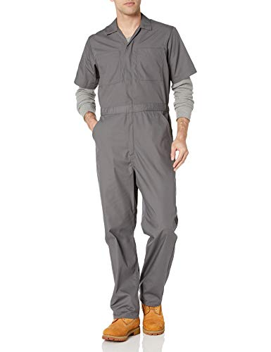 Amazon Essentials Stain & Wrinkle-Resistant Short-Sleeve Coverall overalls-and-coveralls-workwear-apparel, Carbón, Medium-30 Inseam
