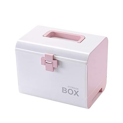 Etravel 救急箱 薬箱 おしゃれ 収納 大容量 引き出し 手提げ 薬ボックス 薬入れ 十字ロック 収納ボックス 救急ボックス 整理 医療箱 応急処置 家庭用 車載用 ピンク