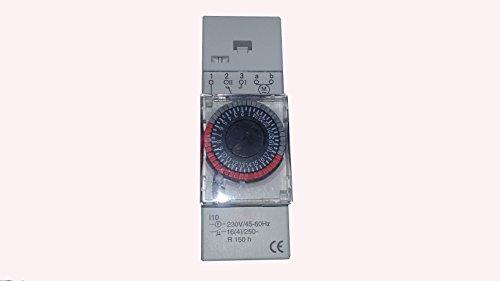 YMBERSA Reloj Programador 24H para Cuadro eléctrico de Piscinas. 230v Mono. 2 módulos, con Reserva de Marcha