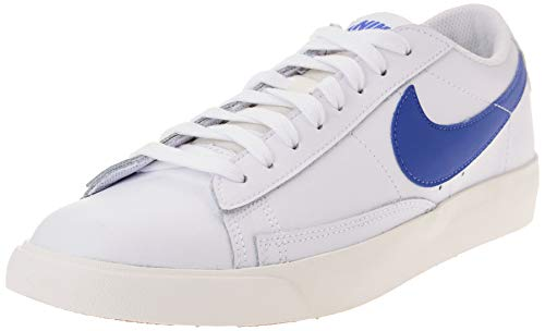 Nike Blazer Low Leather, Scarpe da Basket Uomo, White/Astronomy Blue-Sail, 42 EU