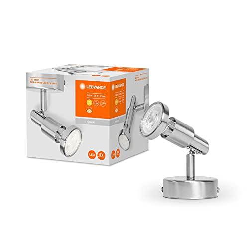 LEDVANCE LED Foco, foco 2 llamas de calidad fabricado en aluminio, apto para paredes y techos interiores, lámparas GU10 reemplazables incluidas, blanco cálido (2700K), 3W, LED SPOT GU10 2x3W