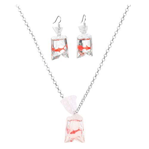 Amosfun Resina Pesce Rosso Koi Collana di Pesci Creativo Sacchetto di Acqua Trasparente Orecchini di Pesce Giapponese Fortunato Collana Pendente per Bambini Donne