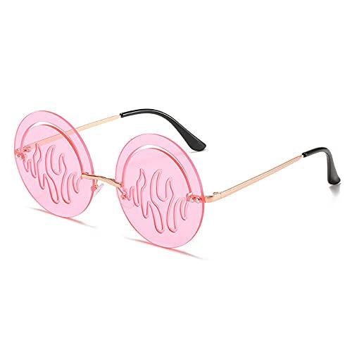 Gafas De Sol Hombre Mujeres Ciclismo Gafas De Sol Redondas Sin Montura De Moda para Mujer, Gafas De Lente Transparente Vintage para Hombre, Gafas De Sol Huecas, Rosa