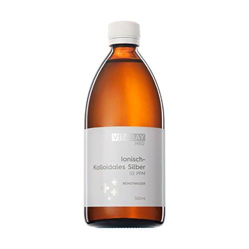 Vitabay Kolloidales Silber 50 PPM • 500 ml • Hochdosiert • Reinheitsstufe 99,99% • Braunglasflasche